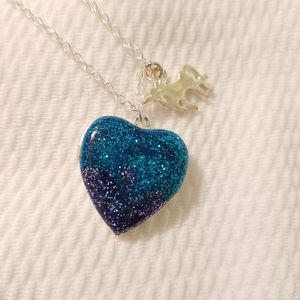 Glitter heart unicorn locket
